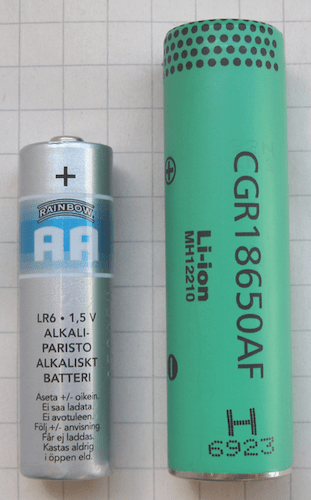 Common AA battery and the 18650 lithium ion battery